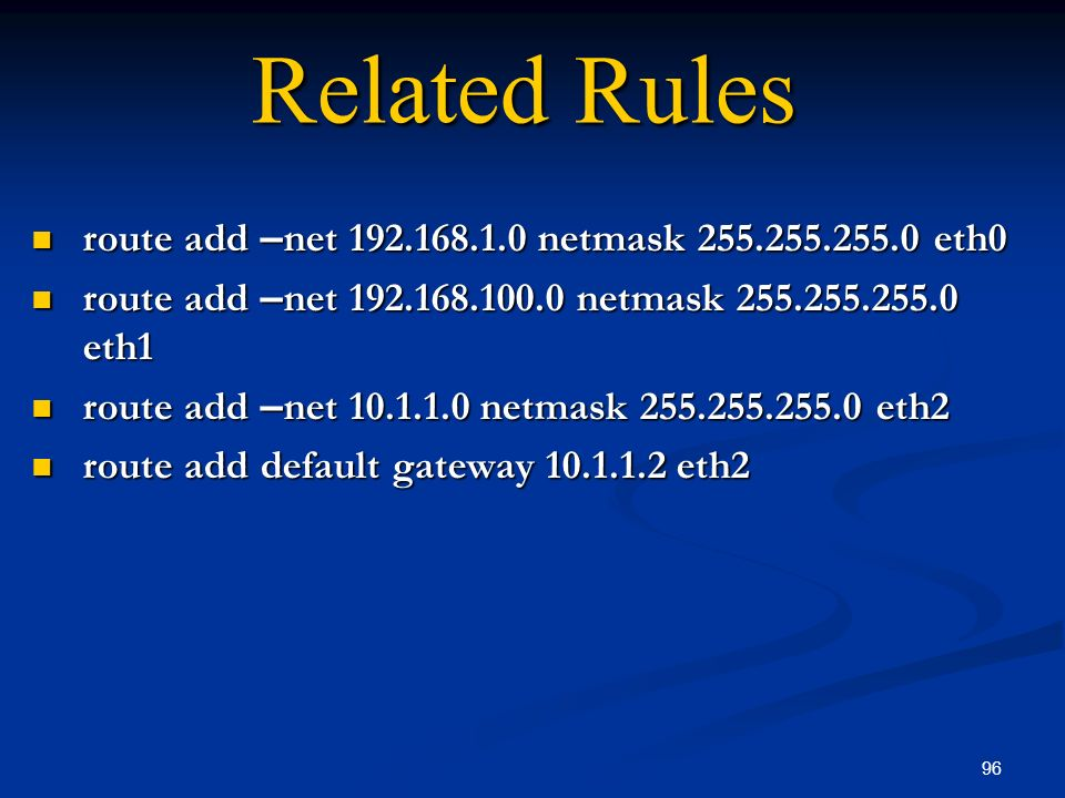 Related Rules route add –net 192.168.1.0 netmask 255.255.255.0 eth0