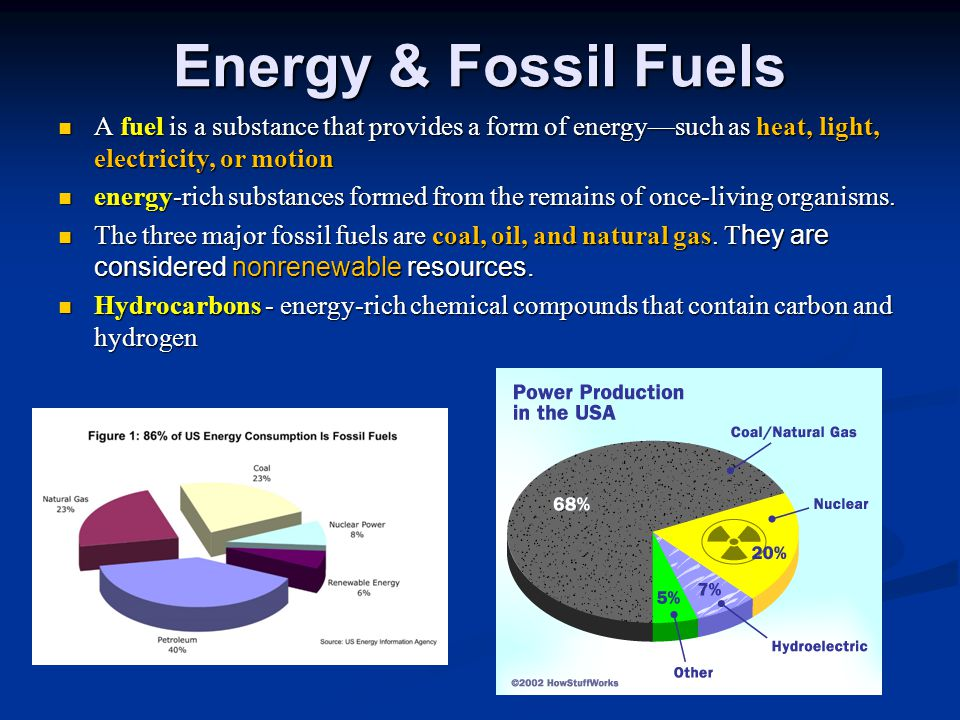 Energy & Fossil Fuels A fuel is a substance that provides a form of energy—such as heat, light, electricity, or motion.