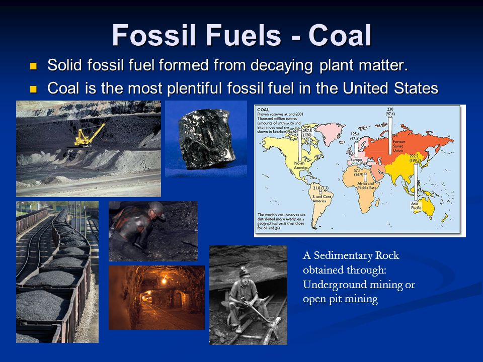Fossil Fuels - Coal Solid fossil fuel formed from decaying plant matter. Coal is the most plentiful fossil fuel in the United States.