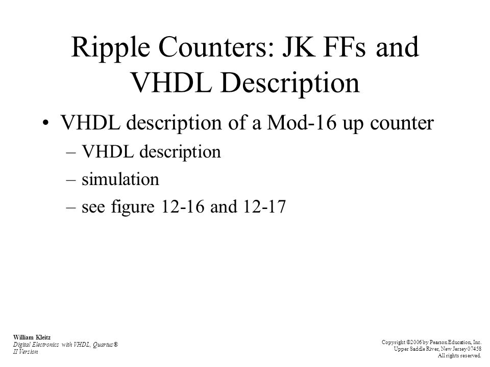 Ripple Counters: JK FFs and VHDL Description