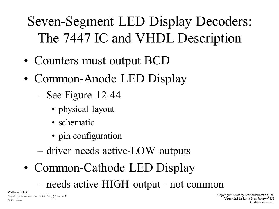 Seven-Segment LED Display Decoders: The 7447 IC and VHDL Description
