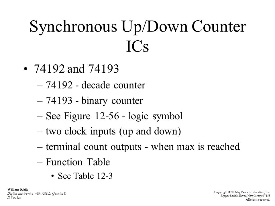 Synchronous Up/Down Counter ICs