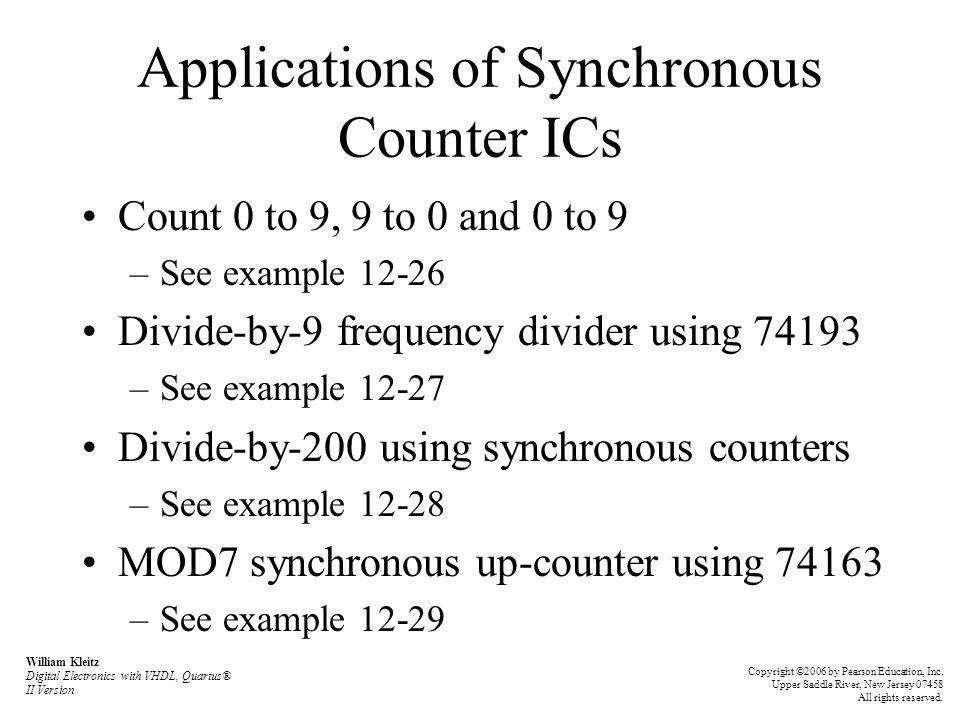 Applications of Synchronous Counter ICs