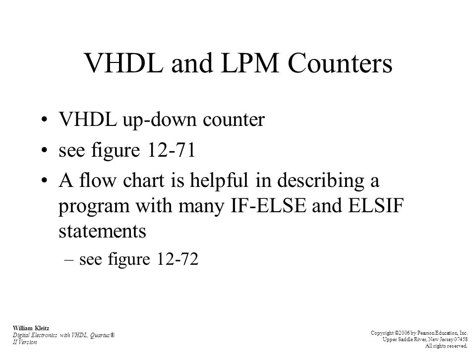 VHDL and LPM Counters VHDL up-down counter see figure 12-71