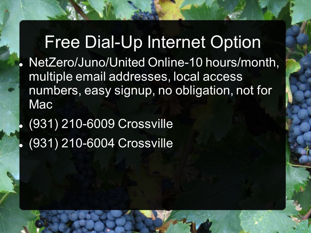 Free Dial-Up Internet Option