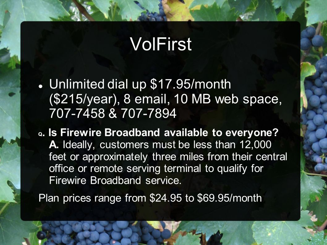 VolFirst Unlimited dial up $17.95/month ($215/year), 8 email, 10 MB web space, 707-7458 & 707-7894.