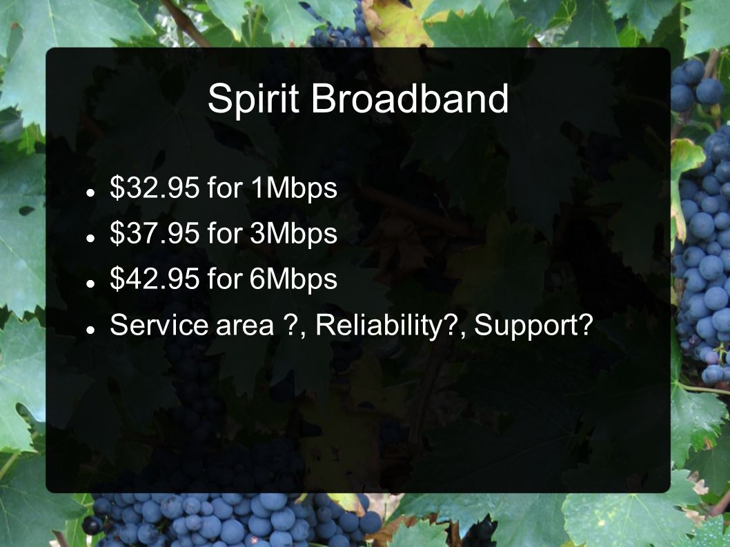 Spirit Broadband $32.95 for 1Mbps $37.95 for 3Mbps $42.95 for 6Mbps