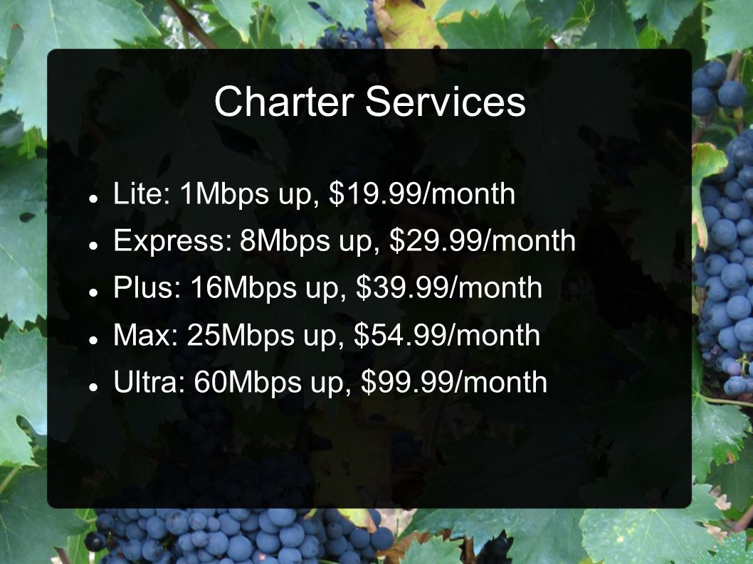 Charter Services Lite: 1Mbps up, $19.99/month
