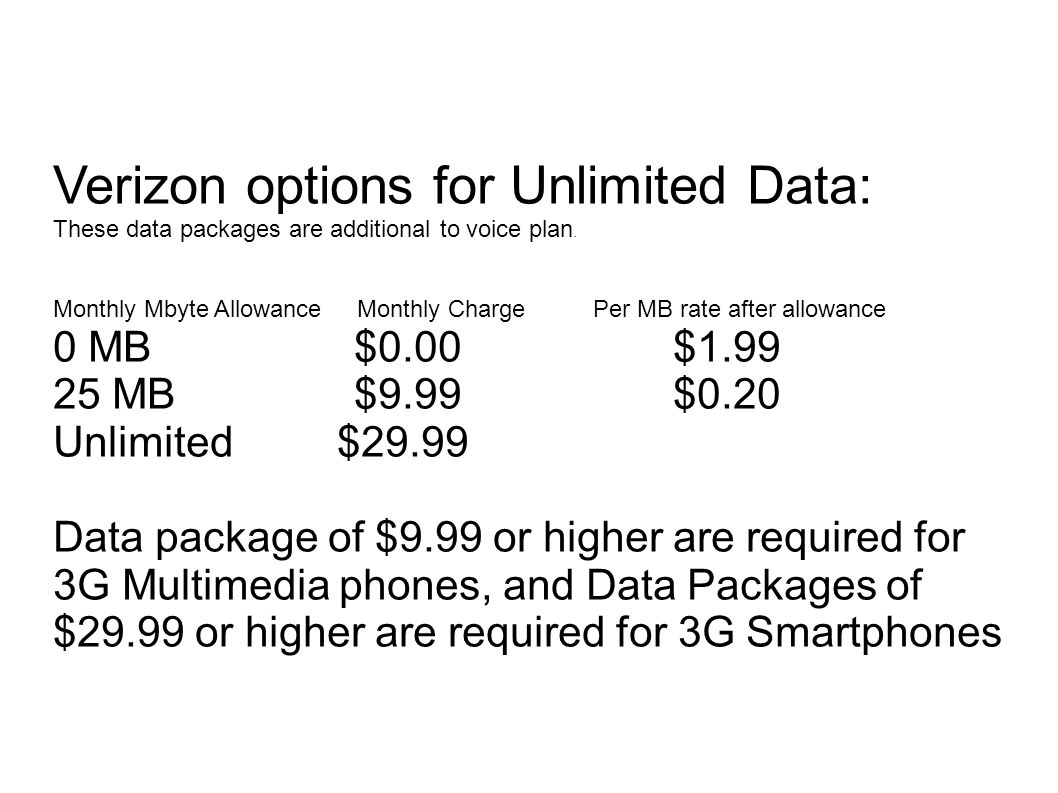 Verizon options for Unlimited Data: