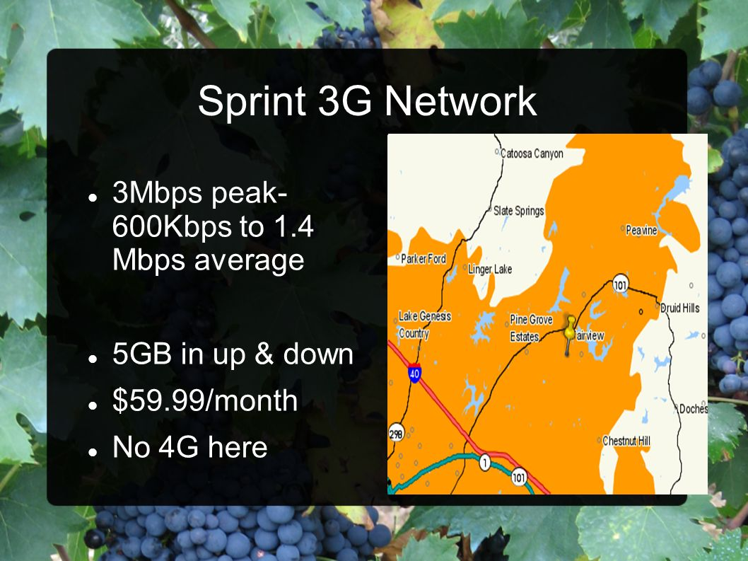 Sprint 3G Network 3Mbps peak- 600Kbps to 1.4 Mbps average