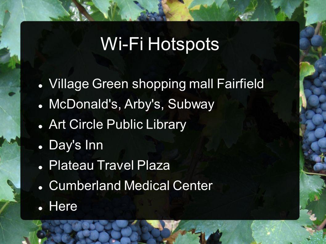 Wi-Fi Hotspots Village Green shopping mall Fairfield