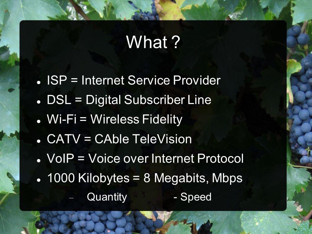 What ISP = Internet Service Provider DSL = Digital Subscriber Line