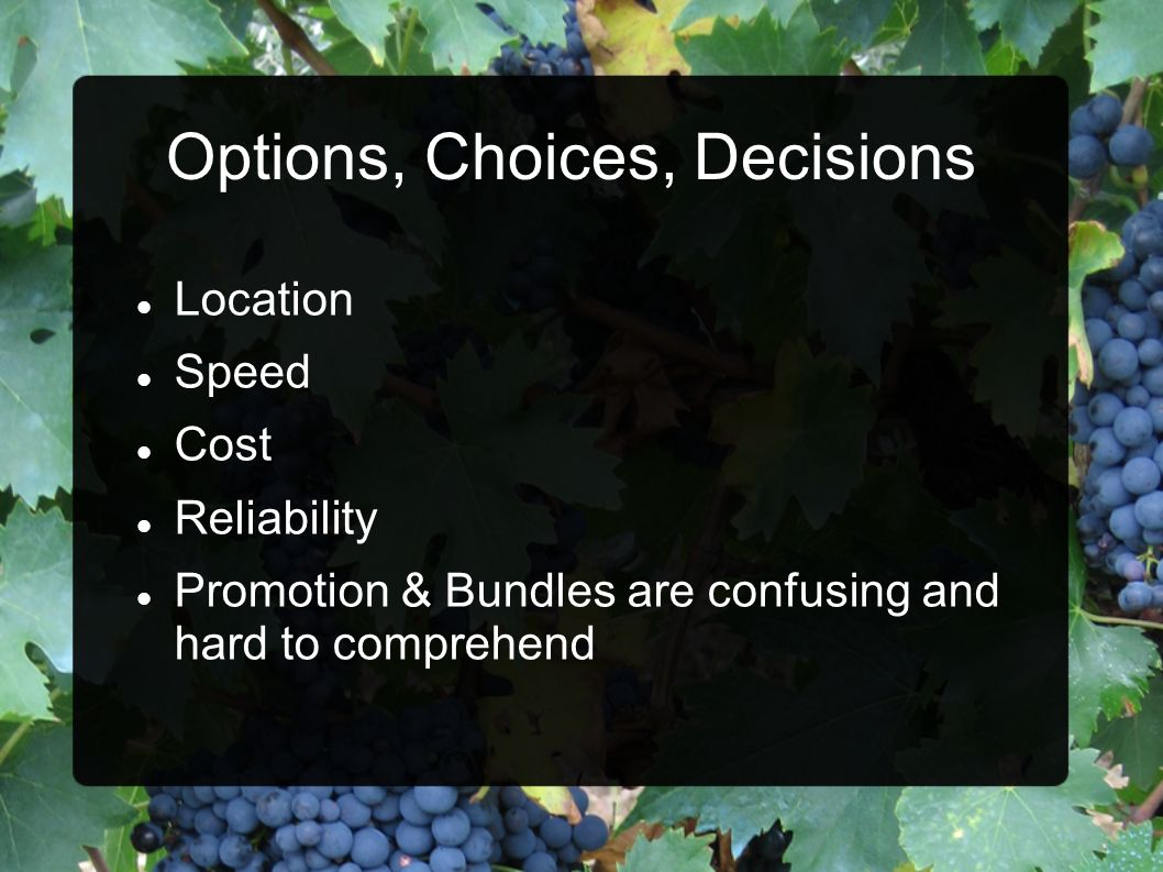 Options, Choices, Decisions