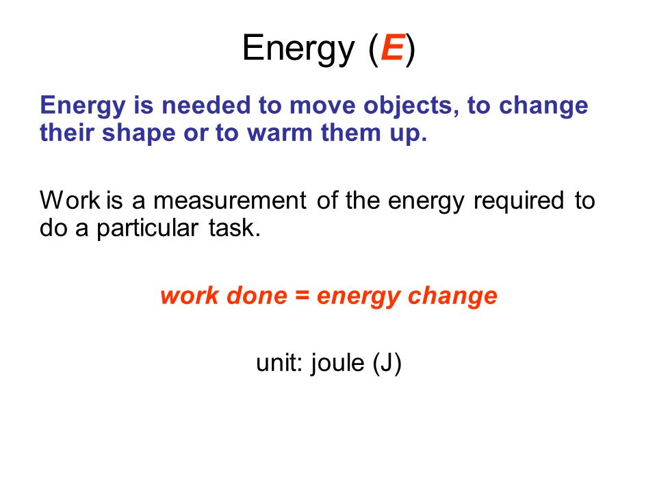 work done = energy change