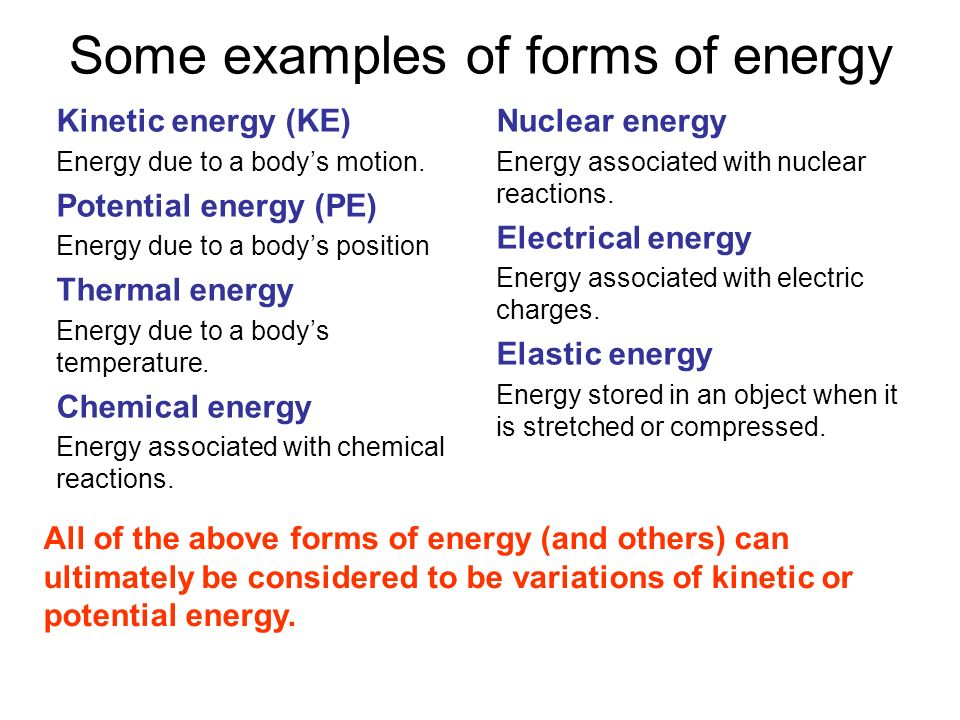 Some examples of forms of energy