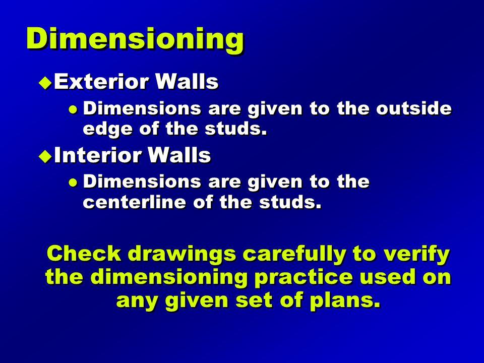 Dimensioning Exterior Walls Interior Walls