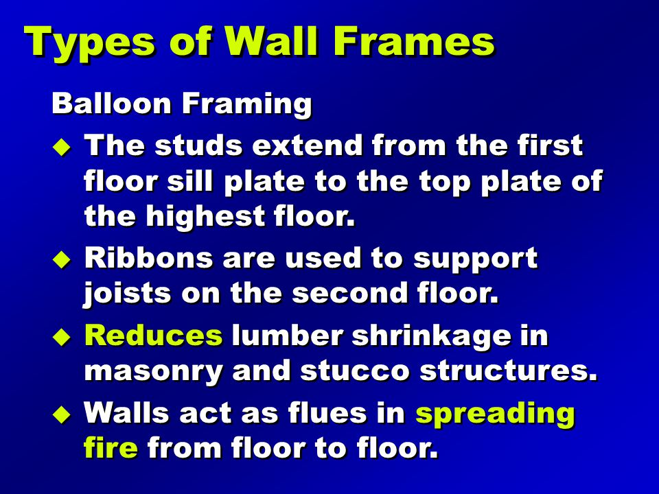 Types of Wall Frames Balloon Framing