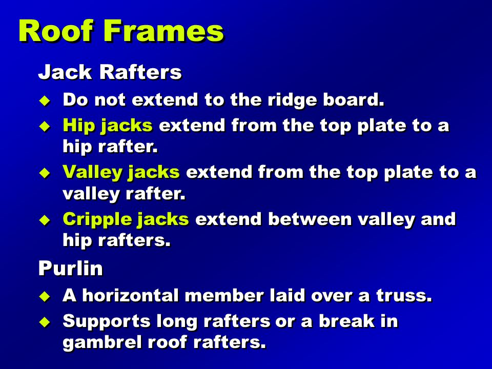Roof Frames Jack Rafters Purlin Do not extend to the ridge board.