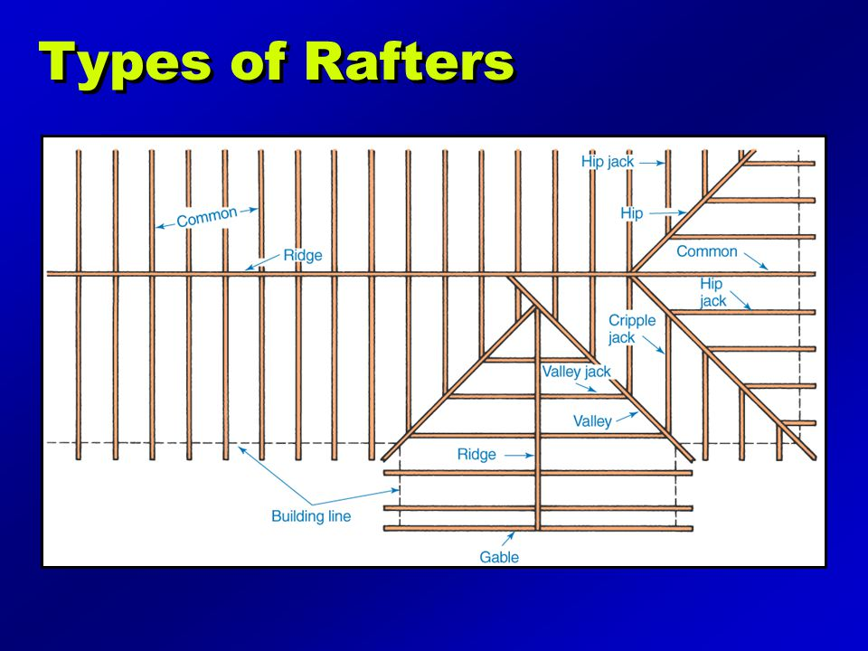 Types of Rafters Illustration may be found on page 191 of the text.