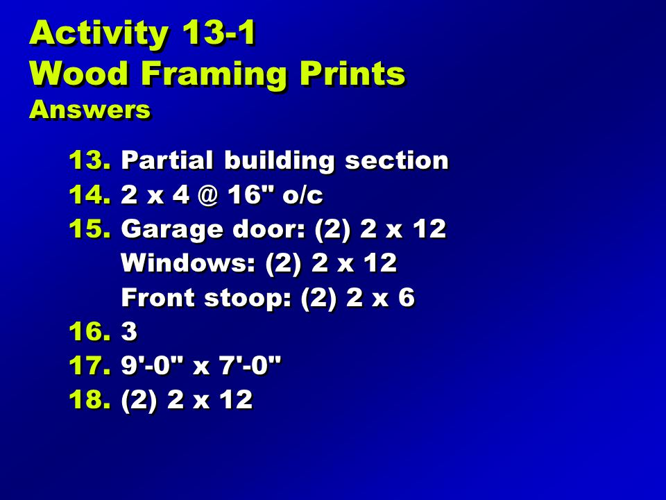 Activity 13-1 Wood Framing Prints Answers