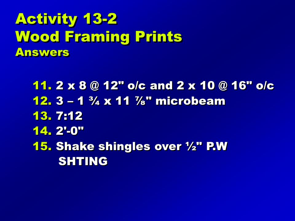 Activity 13-2 Wood Framing Prints Answers