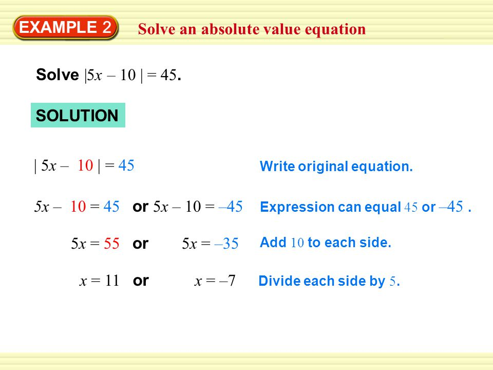 Solve an absolute value equation