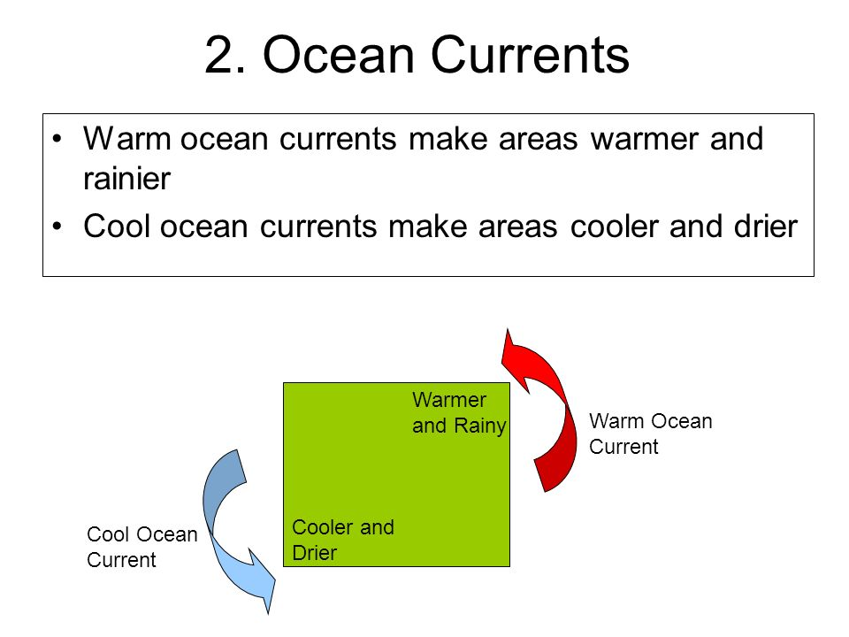 2. Ocean Currents Warm ocean currents make areas warmer and rainier