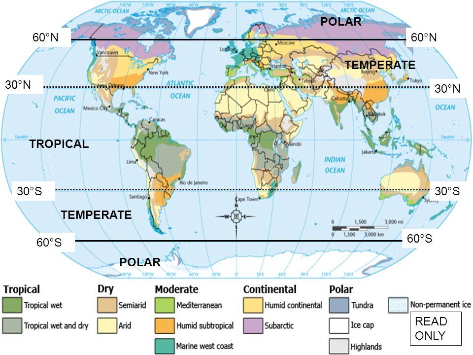 POLAR 60°N 60°N TEMPERATE 30°N 30°N TROPICAL 30°S 30°S TEMPERATE 60°S 60°S POLAR READ ONLY