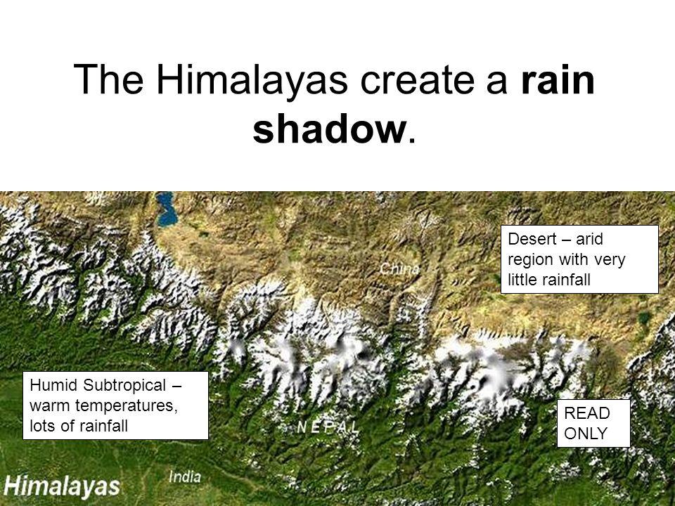 The Himalayas create a rain shadow.