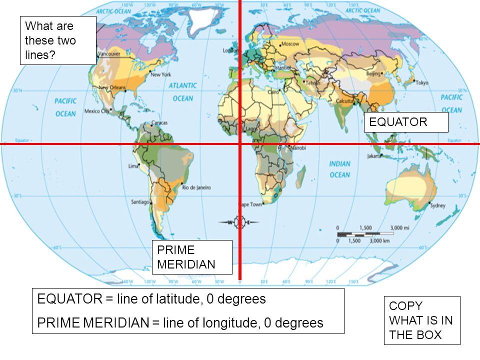 EQUATOR = line of latitude, 0 degrees