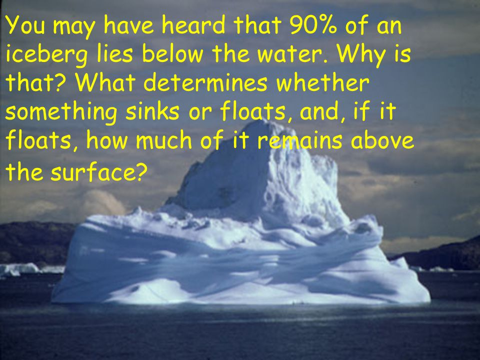 You may have heard that 90% of an iceberg lies below the water
