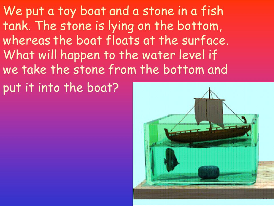 We put a toy boat and a stone in a fish tank