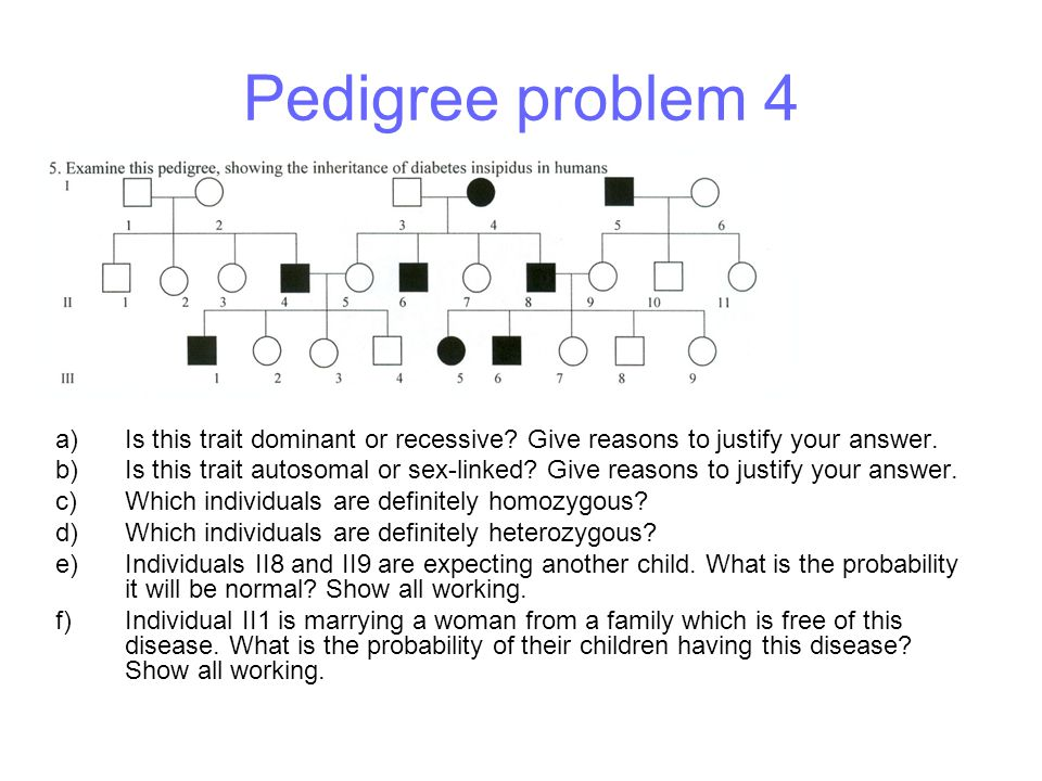 Pedigree problem 4 Is this trait dominant or recessive Give reasons to justify your answer.