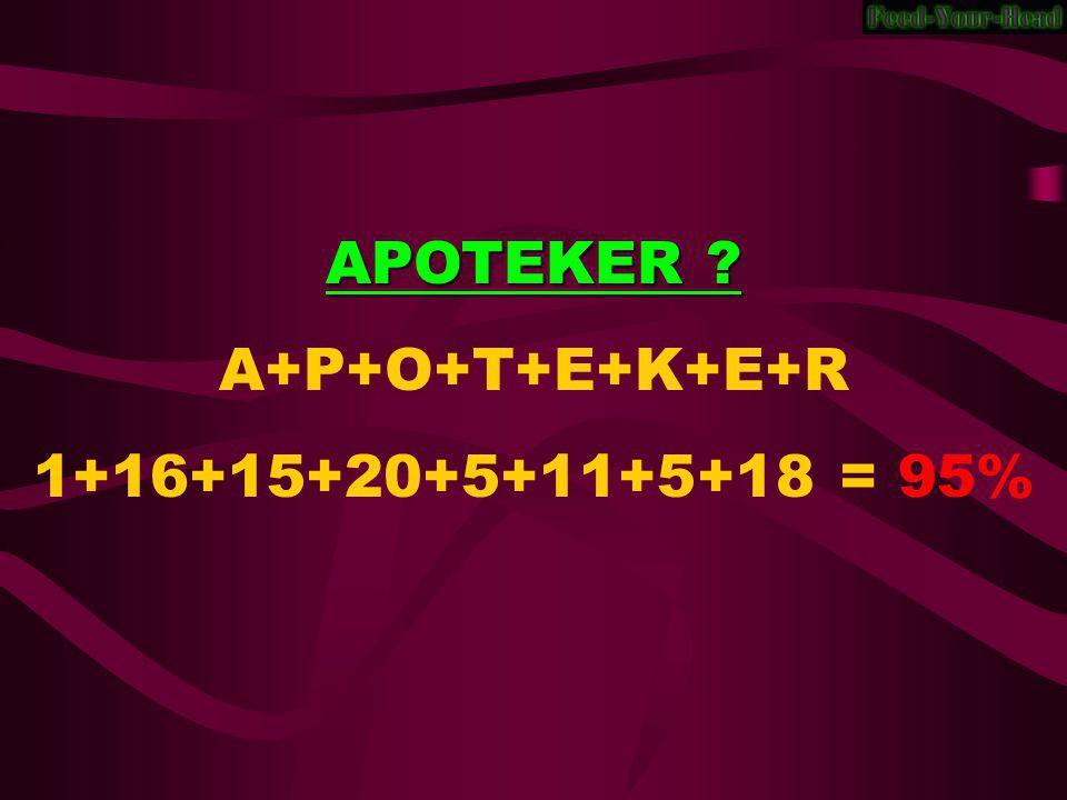 APOTEKER A+P+O+T+E+K+E+R 1+16+15+20+5+11+5+18 = 95%