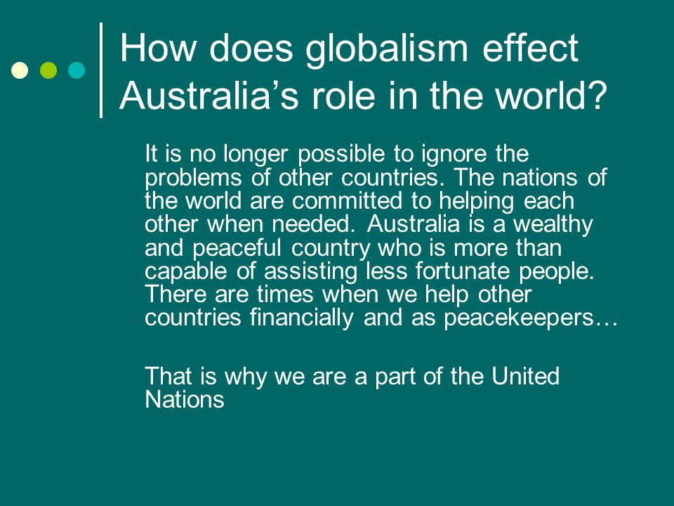 How does globalism effect Australia's role in the world