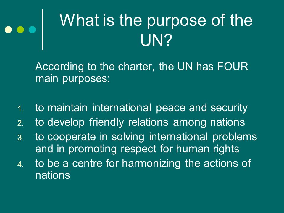 What is the purpose of the UN