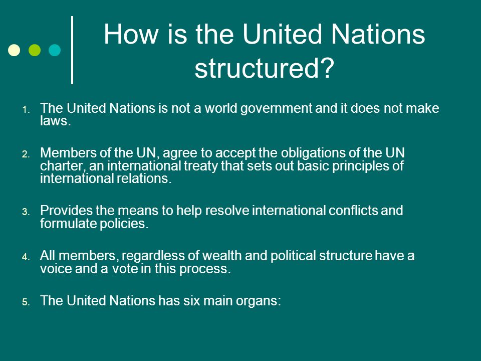 How is the United Nations structured