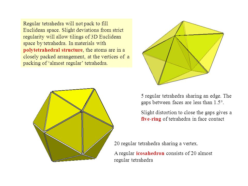 Regular tetrahedra will not pack to fill Euclidean space