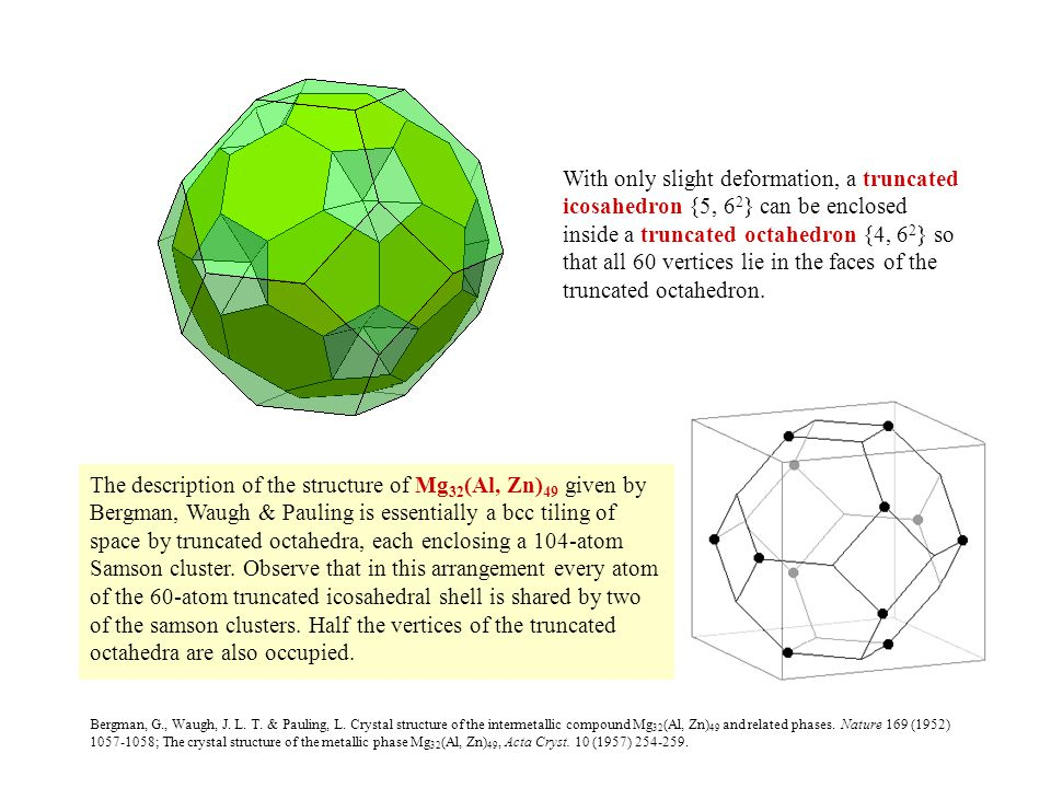 With only slight deformation, a truncated icosahedron {5, 62} can be enclosed inside a truncated octahedron {4, 62} so that all 60 vertices lie in the faces of the truncated octahedron.