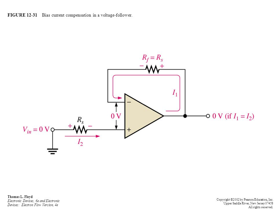 FIGURE 12-31 Bias current compensation in a voltage-follower.