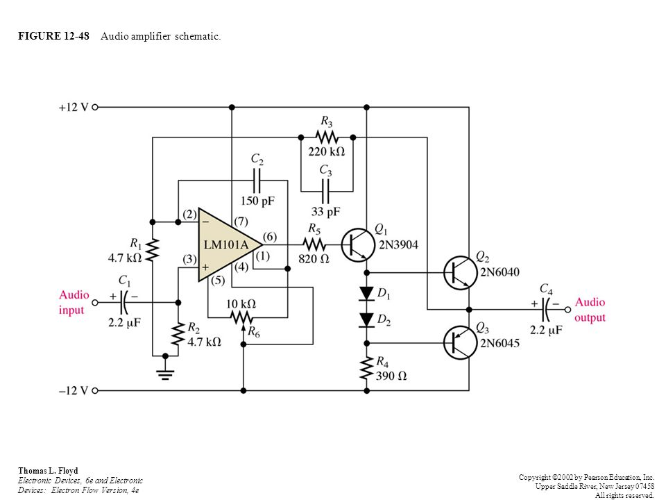 FIGURE 12-48 Audio amplifier schematic.