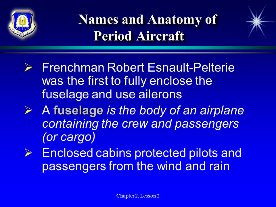 Names and Anatomy of Period Aircraft