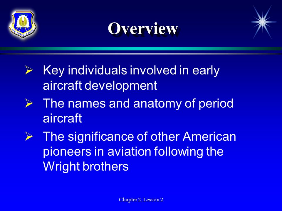 Overview Key individuals involved in early aircraft development