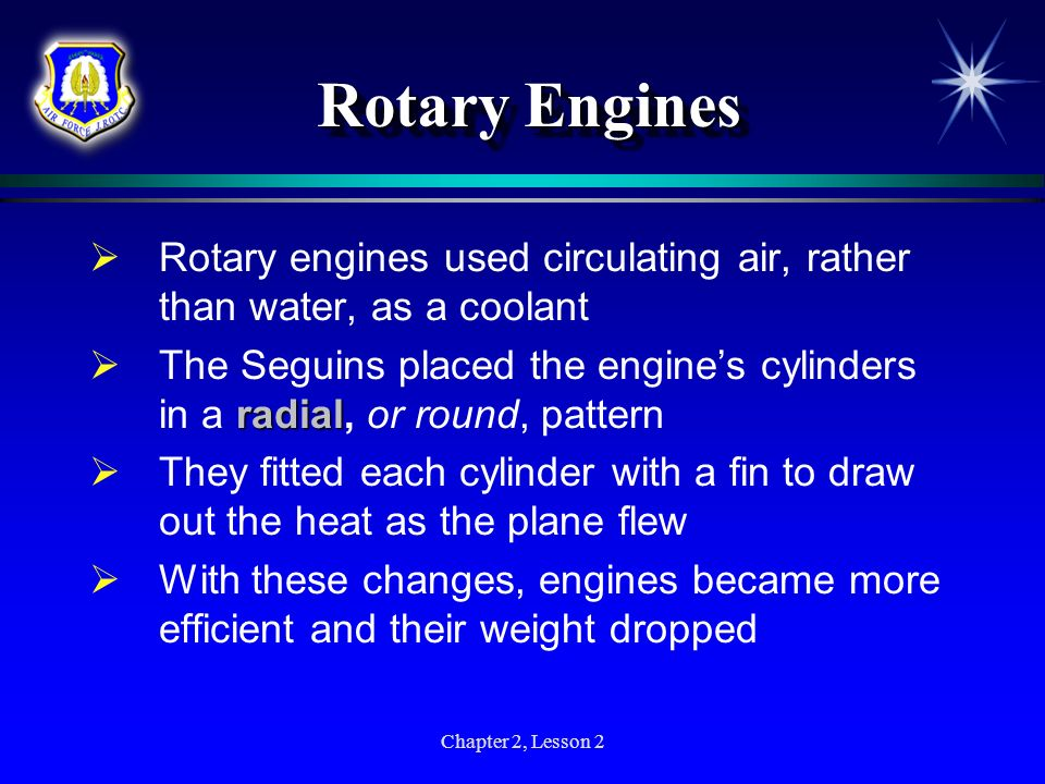 Rotary EnginesRotary engines used circulating air, rather than water, as a coolant.