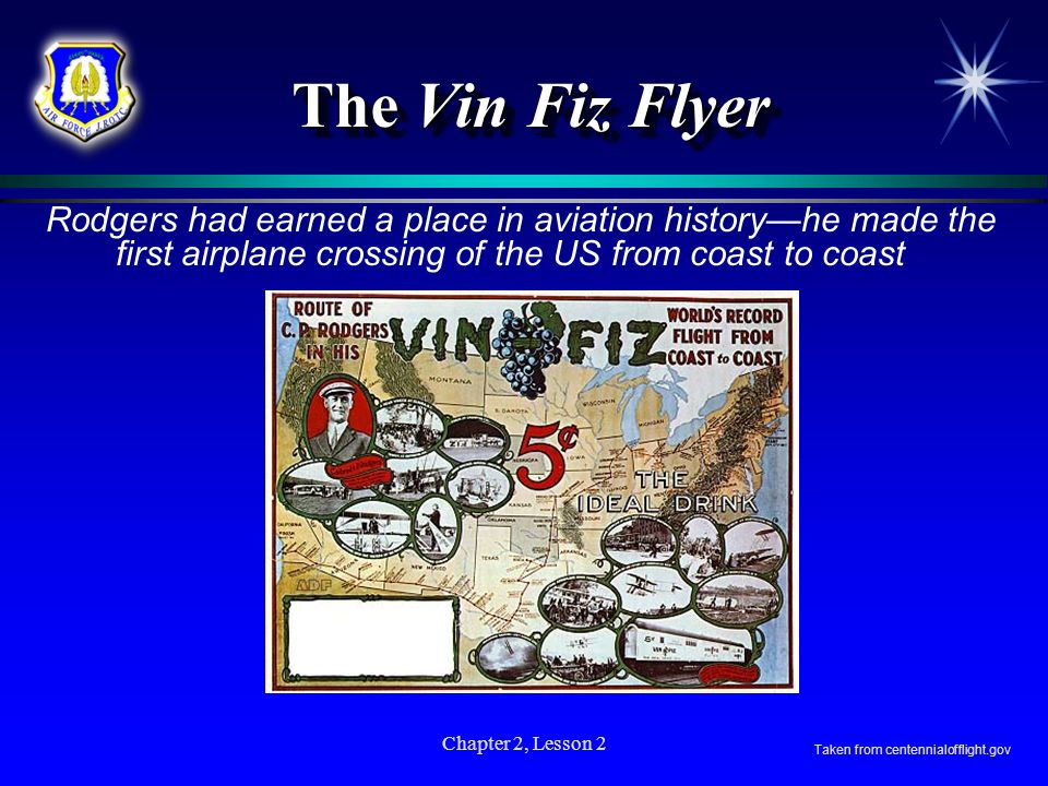 The Vin Fiz FlyerRodgers had earned a place in aviation history—he made the first airplane crossing of the US from coast to coast.