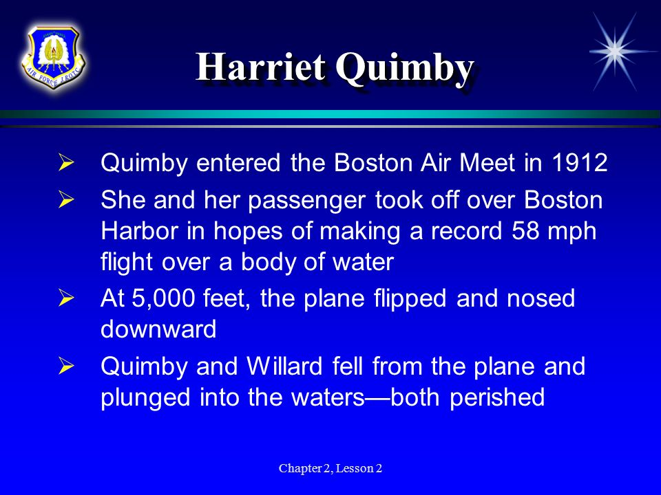 Harriet Quimby Quimby entered the Boston Air Meet in 1912