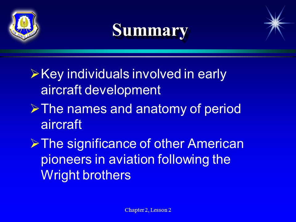 Summary Key individuals involved in early aircraft development