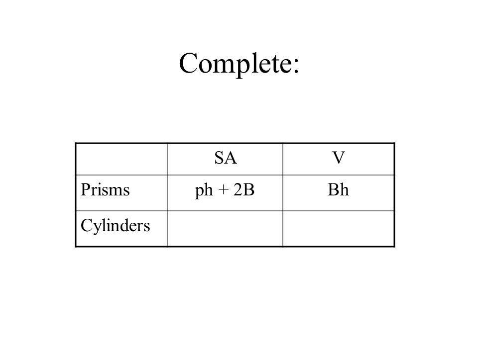 Complete: SA V Prisms ph + 2B Bh Cylinders