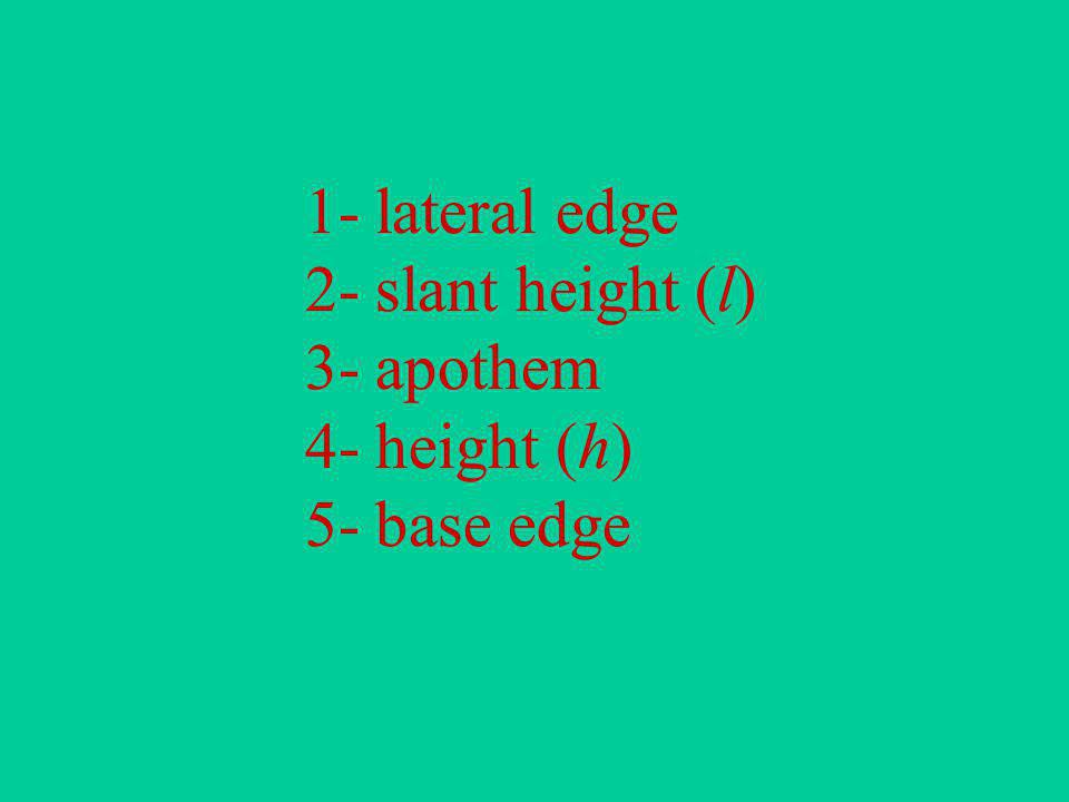 1- lateral edge. 2- slant height (l). 3- apothem. 4- height (h)