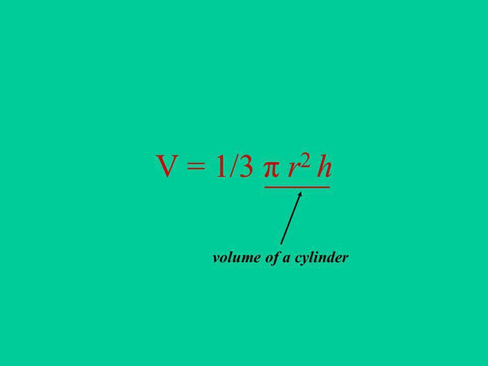 V = 1/3 π r2 h volume of a cylinder